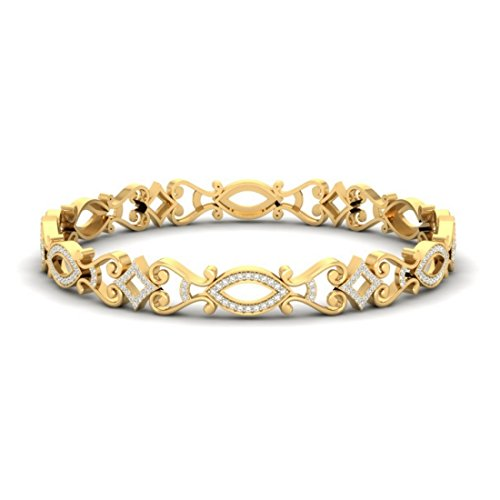 14 K Or jaune, 2.26 CT TW Round-cut-diamond (Ij| SI) Bangle-bracelets