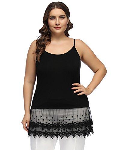 Women's Lace Extender Camisole Round Neck Slip Spaghetti Cami Tank Top 24W Black
