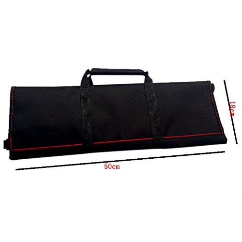 Waterproof Chef's Knife Roll Bag Multi Purpose Canvas Knife Roll Bag Pouch with Handle Strap HGJ03-R-US by Hersent (Image #1)