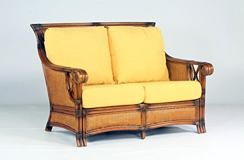 South Sea Rattan Pacifica Loveseat in Walnut Finish, Sachi Pool