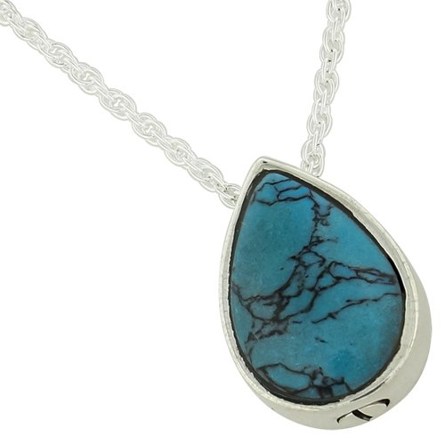 Silverlight Urns Turquoise Teardrop Pendant for Ashes