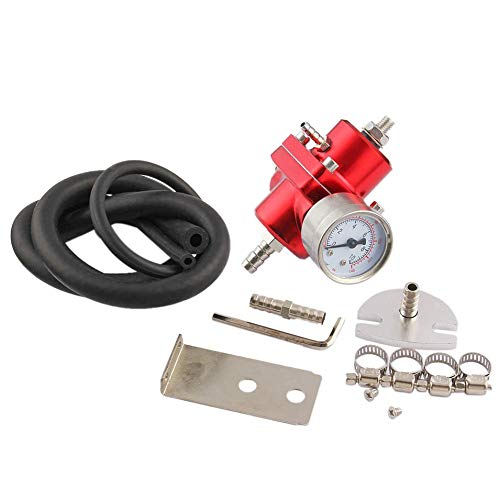 Titanic Adjustable JDM Fuel Pressure Regulator &Gauge Civic Del Sol Accord Prelude Red(Red)