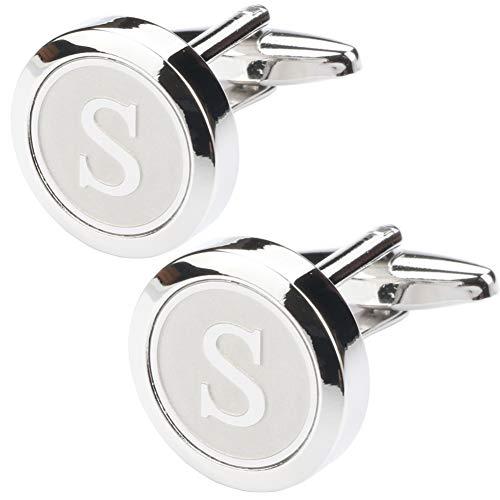 Dannyshi Mens Classic Stainless Steel Initial Cufflinks 26 Alphabet Initial Letter Cufflinks Business Wedding Shirts A-Z (S)
