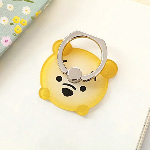ZOEAST(TM) Phone Ring Yellow Winnie The Pooh Universal 360° Rotating Phone Buckle Tablet Finger Grip Ring Stand Holder Kickstand Tablet iPhone 5 5S 6 6S SE 7 8 Plus X ()