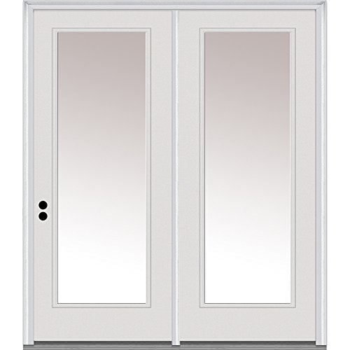 National Door Company ZA01588R Fiberglass Smooth, Primed, Right Hand In-Swing, Center Hinged Patio Door, Clear Low-E Glass Full Lite, 60