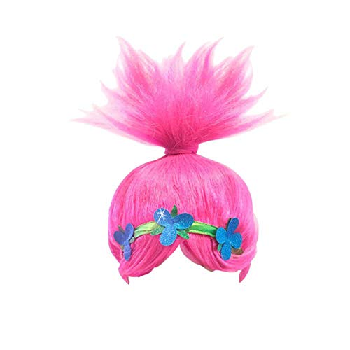 (Pink Trolls Poppy Costume Wigs Cosplay Wig Halloween Party Head Accessories for Women and Girls)