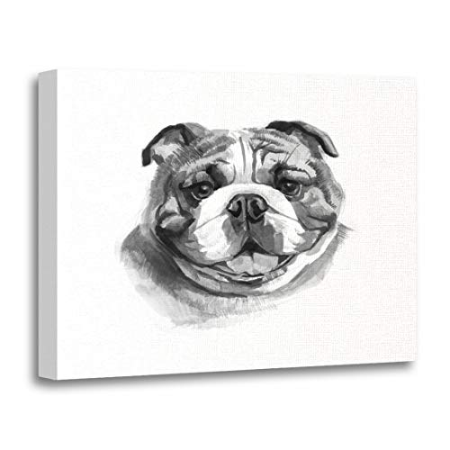 Tinmun Painting Canvas Artwork Wooden Frame Colorful Animal Colored English Bulldog Head Watercolor British Brush 12x16 inches Decorative Home Wall Art
