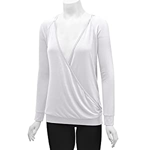 Made By Johnny MBJ Womens Long Sleeve Wrap Front Deep V-Neck Hoodie Shirt XXL White