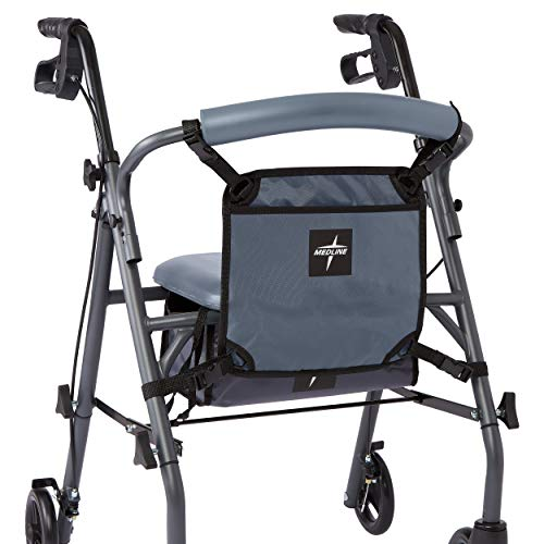 Medline Front Bag for Rollator Walkers, Adjustable Accessory Tote Easily Attaches to Most Walkers and Rollators, Gray ()