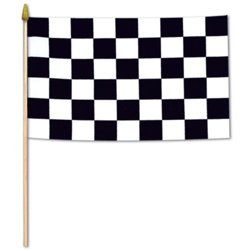 (Checkered Flag - Rayon (w/10� spear-tipped wooden dowel) Party Accessory  (1)