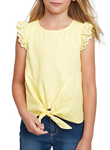 GOSOPIN Girls Casual Ruffle Cap Sleeve Tee Tie Knot Tunic X-Large Yellow