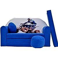 Pro Cosmo C26Enfants Canapé lit futon 3en 1avec Pouf/Repose-Pieds/Oreiller, Tissu, Bleu, 168x 98x 60cm