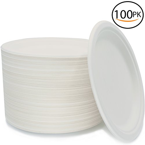 Midland Tree - 100 Biodegradable Compostable Eco Plates, 9 Inch Environmentally friendly Plant based Tree Free Disposable Sugarcane Plates, Great alternative to Paper