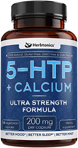 200 MG 5-HTP Supplement with Calcium - 120 Vegetarian Capsules Promotes Serotonin Synthesis 5htp 200mg Mood Enhancer and Cortisol Health for Women and Men