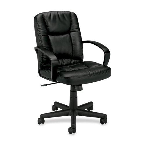 Wholesale CASE of 2 - Basyx Executive Pneumatic Mid-back Leather Chair-Executive Chair, Pneumatic, 25-3/8