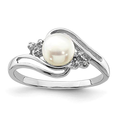 - 925 Sterling Silver 6mm Freshwater Cultured Button Pearl Diamond Band Ring Size 6.00 Fine Jewelry Gifts For Women For Her
