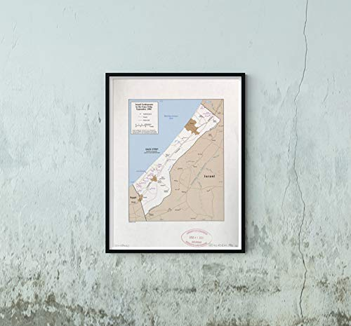 1985 Map|Title: Israel settlements in The Gaza Strip, September 1984|Subject: Gaza Strip|Land Settle (Gaza Strip Map Israel)