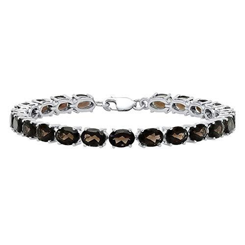 Dazzlingrock Collection 5X7 MM Each Oval Smoky Quartz Ladies Tennis Bracelet, Sterling Silver