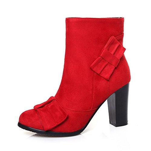 AllhqFashion Damen Niedrig-Spitze Ziehen auf Hoher Absatz Rund Zehe Stiefel, Rot, 41