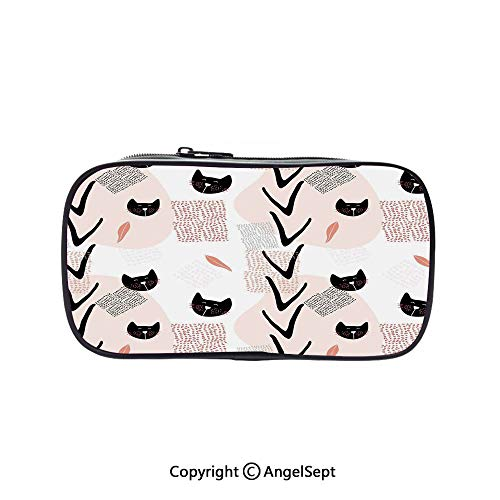 Cute Pencil Case - High Capacity,Cute Cat Faces with Dotted Whiskers Kittens Animals Kids Nursery Theme Dark Coral Black Peach 5.1inches,Multifunction Cosmetic Makeup Bag,Perfect Holder for Pencils A -