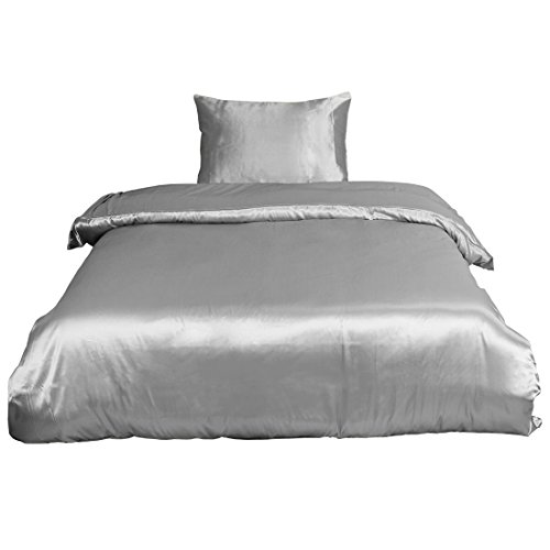 (uxcell Ultra Soft Silky Satin Solid Color 2-Piece Bedding Set - 1 Duvet Cover and 1 Pillow Sham - Satiny and Classy Silk Like Duvet Cover Sets with Hidden Zipper Closure Twin Size Gray)