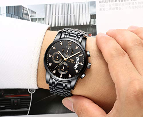 OLMECA Men's Watches Luxury Wristwatches Rhinestone Diamonds Watches Waterproof Fashion Quartz Watches Boys Watch Stainless Steel Watch Black Color 0827-QHMDgd