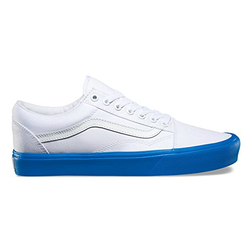 Vans Old Skool Lite Sneakers (Pop Sole) True White/Blue Mens 8.5 ew0m6lgNE