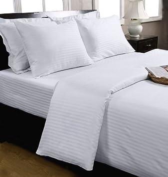 drap housse coton d egypte Homescapes Drap Housse Blanc de Luxe avec rayures effet Satin pour  drap housse coton d egypte