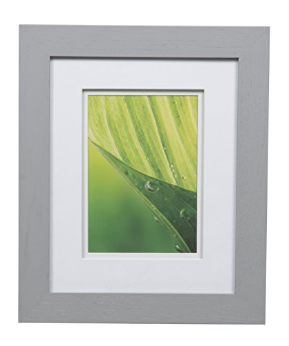 Gallery Solutions Photos 8x10 Flat Grey Tabletop or Wall Frame with Double White Mat for 5x7 Picture, 8