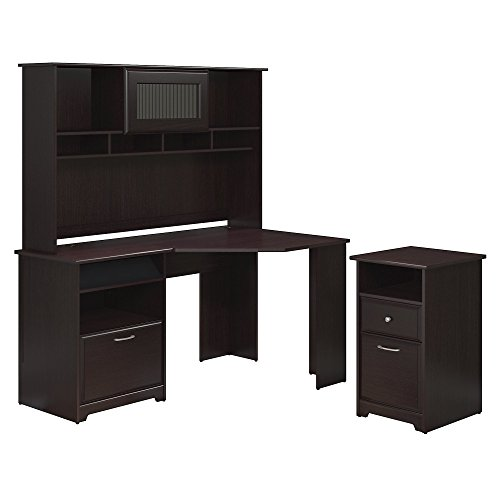 Bush Furniture Cabot Corner Desk, Hutch, and 2 Drawer File Cabinet