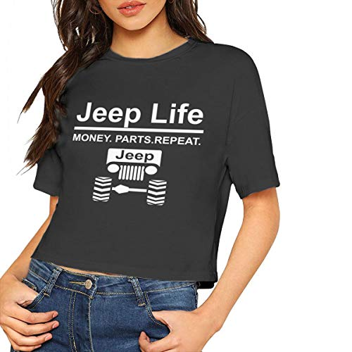 Jeep Life Money Parts Repeat Navel T-Shirt Crop Top for Women's Black