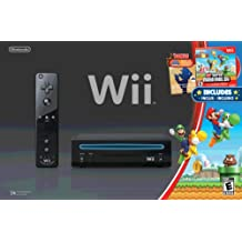 Wii Black Console with New Super Mario Brothers Wii and Music CD - Standard Edition