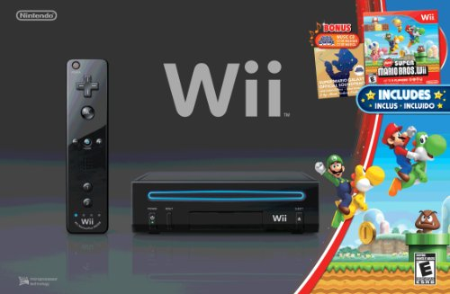 Amazon.com: Wii Black Console with New Super Mario Brothers Wii ...