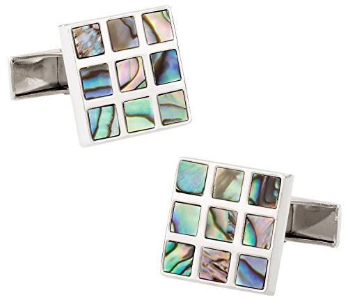 Cuff-Daddy 9 Square Abalone Silver cufflinks with Presentation Box
