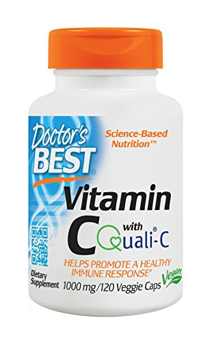 Doctor's Best Vitamin C with Quali-C 1000 mg, Non-GMO, Vegan, Gluten Free, Soy Free, Sourced from Scotland, 120 Veggie - Ros C
