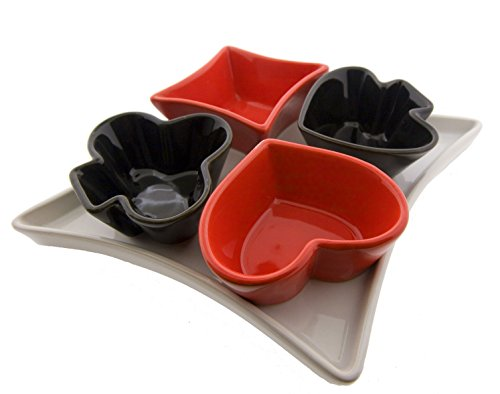 Playing Card Suits Enameled Porcelain Serving Set (5 piece) (Shaped Snack Plate)