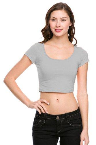 G2 Chic Women's Solid Short Sleeve Crop - Crop Chic