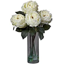 Nearly Natural 1247-WH Fancy Rose with Cylinder Vase Silk Flower Arrangement, White