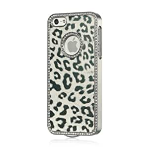 Luxmo Chrome Case for iPhone 5, PU Leather-Rear Case Only, White Leopard, (CHIP5WTLE/PU-R)