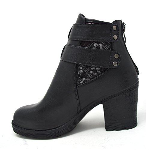 Xelay Damen Biker Boots Black Buckle