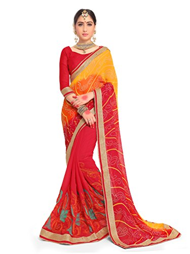 (ELINA FASHION Sarees for Women Faux Georgette Embroidered Saree l Indian Wedding Ethnic Sari with Blouse Piece (Yellow & Red))