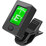 Upgrade Guitar Tuner, Accurate Electronic Liquid Crystal Display, Clip-on Tuner for Guitar, Bass, Ukulele, Violin, 360 Degree Rotating, Fast & Accurate Tuner with Battery