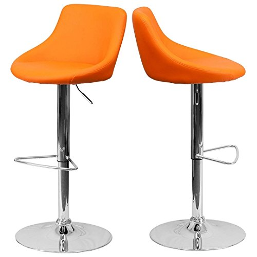 - Modern Design Bar Stool Bucket Seat Design Hydraulic Adjustable Height 360-Degree Swivel Seat Sturdy Steel Frame Chrome Base Dining Chair Bar Pub Stool Home Office Furniture - Set of 2 Orange #1985