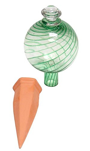 Plant Nanny 8115 12 oz Spiral Fluted Watering Globe & Stake Set, 3.5