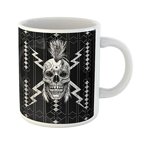 (Semtomn Funny Coffee Mug Skull Punk Graphic Rocker Guitar Hair Man Mohawk Steam 11 Oz Ceramic Coffee Mugs Tea Cup Best Gift Or)
