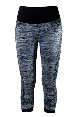 L&K-II Damen Sporthose Luafhose Yoga 3/4 Leggings Strech Fitness Hose 4112 Schwarz L/XL