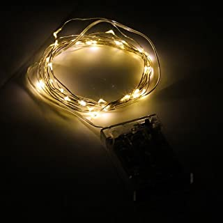 Led rope lights battery powered 10 ft do it yourselfore binzet 10ft 30 leds super bright warm white durable silver wire string lights 3xaa battery powered aloadofball Image collections