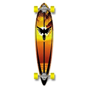 Yocaher Punked Graphic Pintail Complete Longboard Skateboard by Yocaher