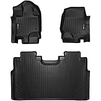 SMARTLINER Floor Mats 2 Row Liner Set Black for 2015-2018 Ford F-150 SuperCrew Cab With 1st Row Bucket Seats