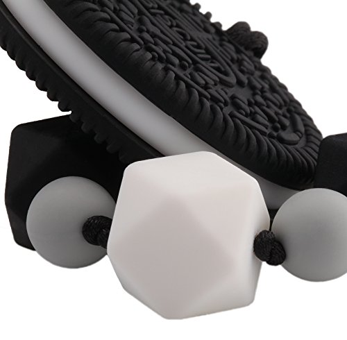 Silicone Teether Cookie & Baby Pacifier Clip Holder with Chewbeads, Black and White Teething Relief Sensory Toys, Best as Infant, Newborn, Toddler (0, 3, 6 Months, 1 Year Old) Unique Gift Boy or Girl